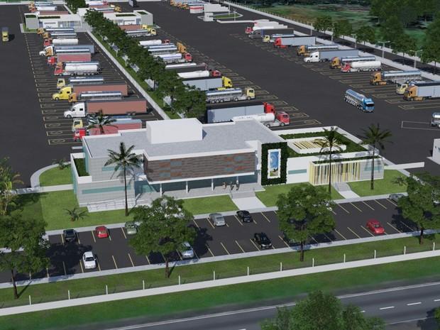 Ponto de parada para caminhoneiros contará com estacionamento, sala de descanso, sala de jogos e consultório médico. (Foto: Divulgação)