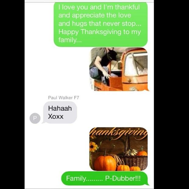Troca de mensagens entre Tyrese Gibson e Paul Walker (Foto: Instagram/ Reprodução)