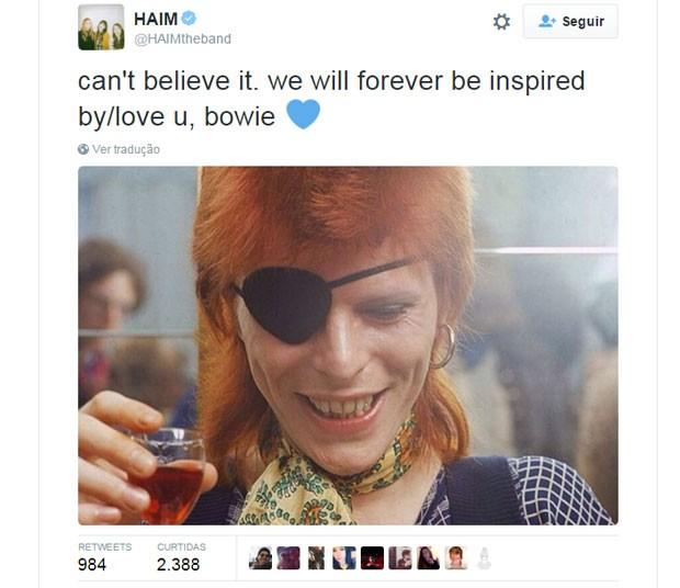 A banda HAIM fez uma homenagem a David Bowie no Twitter (Foto: Reprodução/Twitter/HAIM)