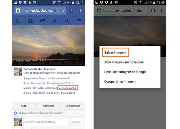 Baixe fotos em redes sociais no Chrome para Android (Foto: Reprodução/Barbara Mannara)