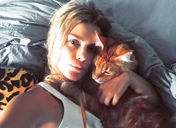 Carolina Dieckmann e o gato de estimação, Kibe (Foto: Reprodução/Instagram)