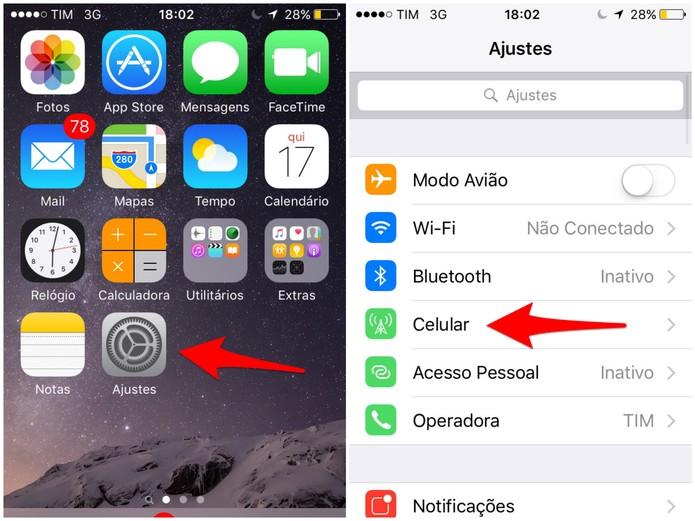 Selecione Ajustes e, depois, Celular no seu iPhone (Foto: Reprodução/Lucas Mendes)