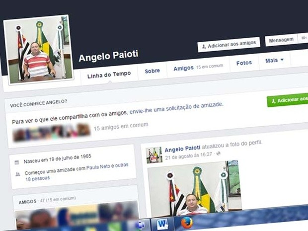 Perfil falso no Facebook foi criado pelo agente de saúde, segundo polícia (Foto: Arquivo pessoal/Sérgio Santos)