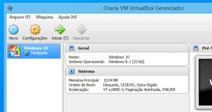 Inicie a máquina virtual que foi criada (Foto: Reprodução/Helito Bijora)