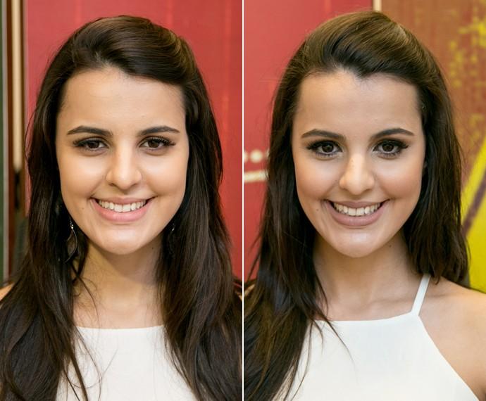 Antes e depois de Allice Tirolla com make de Claudia Leitte (Foto: Isabella Pinheiro/Gshow)