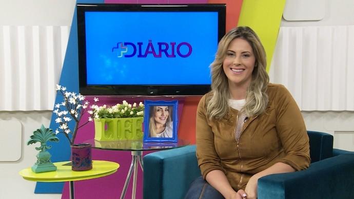 Jessica Leão no estúdio do 'Mais Diário' (Foto: Reprodução / TV Diário )