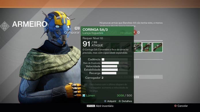 Compre novas armas na Torre (Foto: Reprodução/Murilo Molina)