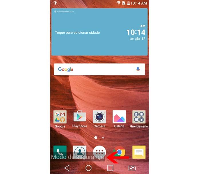 Sistema do seu smartphone Android em modo de segurança (Foto: Reprodução/Aline Batista)
