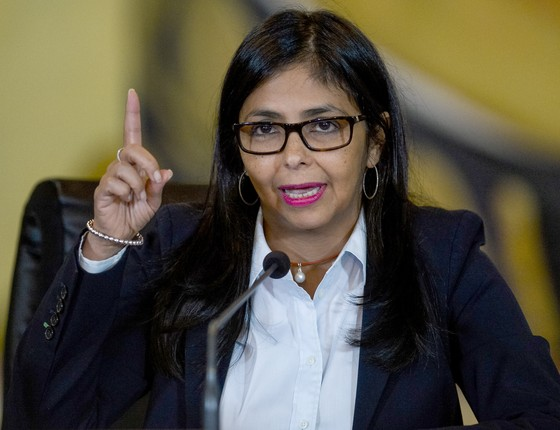 """A chanceler venezuelana Delcy Rodríguez - por meio de sua conta no Twitter, ela protestou o que chamou de """"perseguição"""" contra a Venezuela no Mercosul (Foto: FEDERICO PARRA/AFP)"""