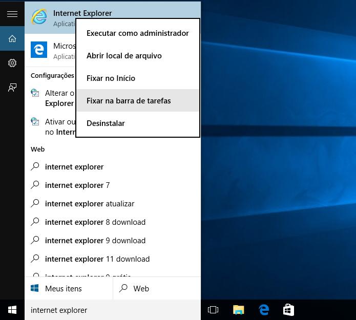 Abrindo o Internet Explorer no Windows 10 (Foto: Reprodução/Helito Bijora)