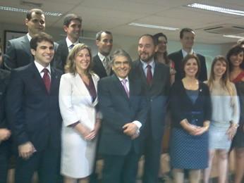 Presidente do STF participa da cerimônia de posse de procuradores federais na sede da Advocacia-Geral da União (Foto: Mariana Oliveira / G1)