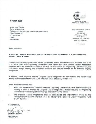 documento da federação sul-africana (Foto: Reprodução)