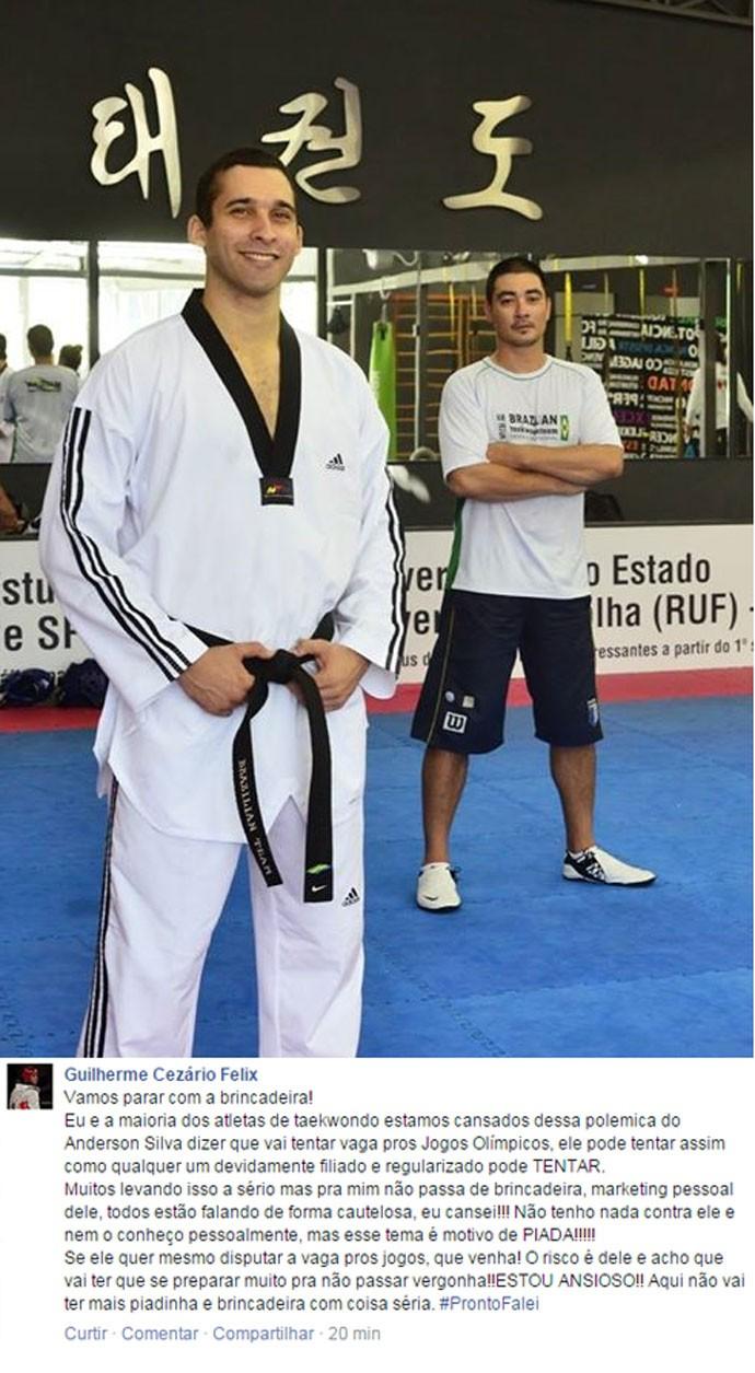 post Guilherme Cezário Felix facebook (Foto: Reprodução / Facebook)