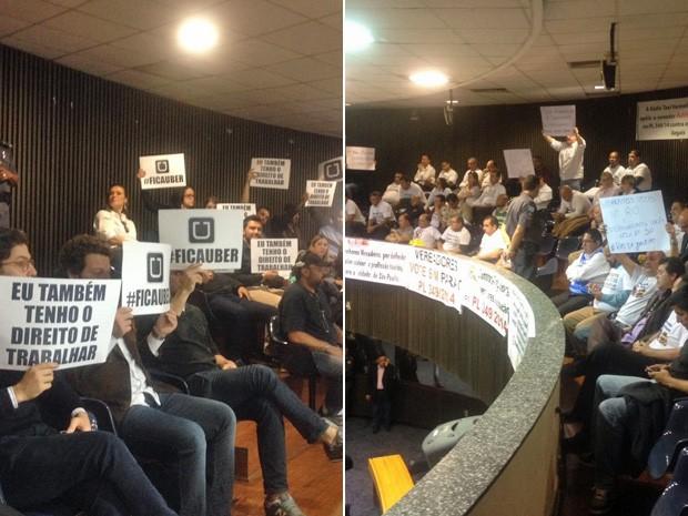 Defensores do Uber e taxistas acompanham votação na Câmara de SP na tarde desta quarta-feira  (Foto: Carolina Dantas/G1)