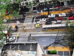 Árvore caída bloqueia fluxo na Avenida Nove de Julho.  (Foto: Renato Banzai/VC no G1)