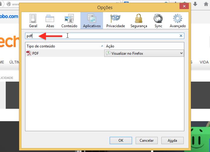 Localize as configurações de aplicativos para documentos PDF (Foto: Reprodução/Helito Bijora)