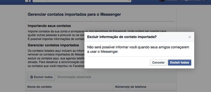 Exclua todos os contatos de celular da sua conta no Facebook com um clique (Foto: Reprodução/Facebook)
