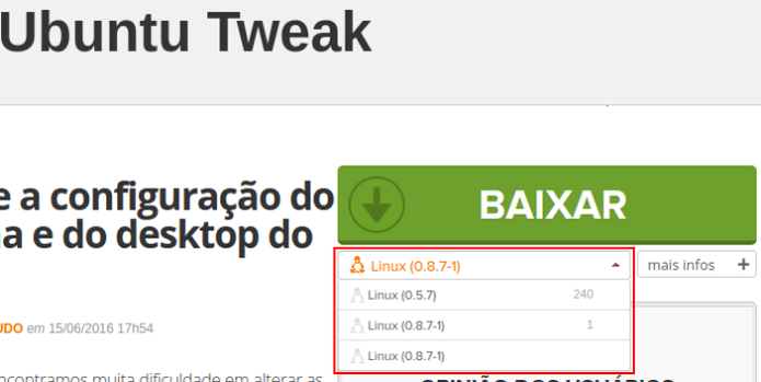 Baixando o Ubuntu Tweak no TechTudo Downloads (Foto: Reprodução/Edivaldo Brito) (Foto: Baixando o Ubuntu Tweak no TechTudo Downloads (Foto: Reprodução/Edivaldo Brito))