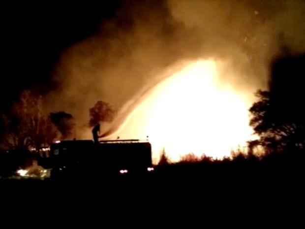 Incêndio combatido pelos Bombeiros no Parque Cesamar (Foto: Reprodução)
