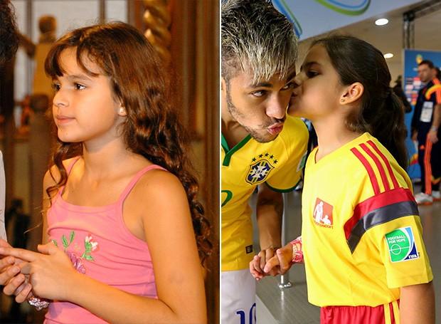 Bruna Marquezine e Neymar com torcedora mirim (Foto: Márcio de Souza / TV Globo | Getty)