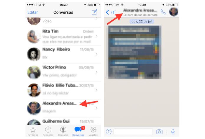 Acessando as configurações para um contato do WhatsApp no iPhone (Foto: Reprodução/Marvin Costa)
