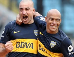 Santiago silva e lucas viatri boca juniors gol all boys (Foto: Agência EFE)