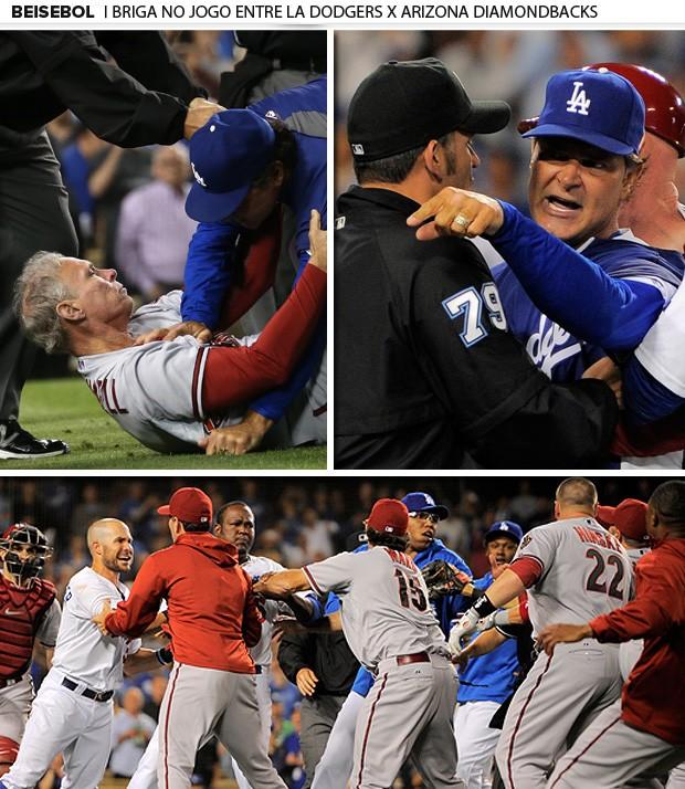 mosaico beisebol briga LA Dodgers x Arizona  (Foto: Editoria de Arte)