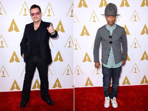 À esquerda, Bono, vocalista do U2, participa do almoço dos indicados ao 86º Oscar, em 10 de fevereiro; à direita, Pharrell Williams chega ao local da recepção (Foto: Jordan Strauss/Invision/AP)