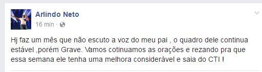 Arlindo Neto fala sobre Arlindo Cruz (Foto: Reprodução/Facebook)