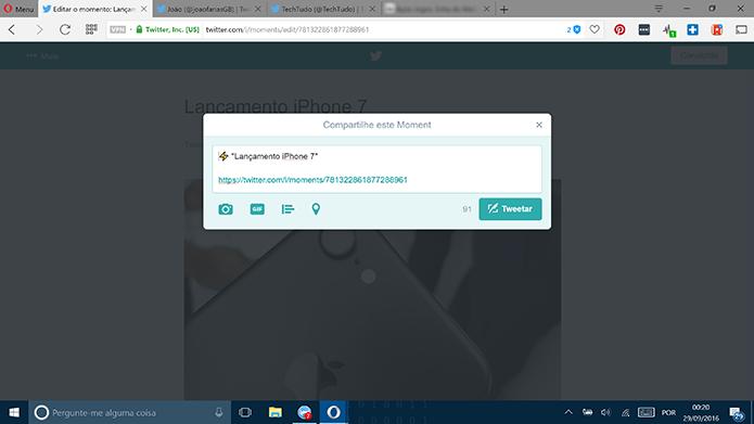 Twitter mostrará mensagem com link para que usuário divulgue Moments (Foto: Reprodução/Elson de Souza)
