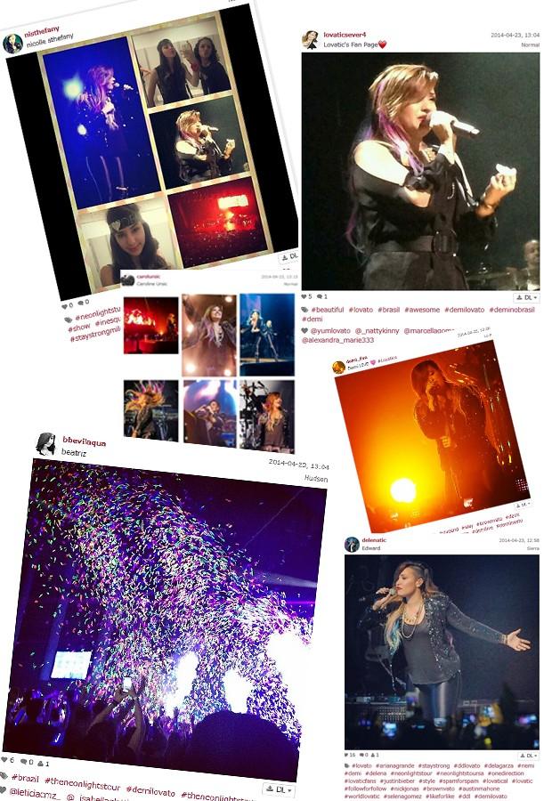 Veja alguns registros postados por fãs da cantora (Foto: Reprodução/Instagram)