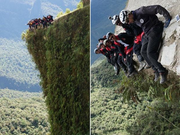 Turistas no Caminho da Morte: precipícios de vários metros de profundidade (Foto: GravityBolivia.com/Divulgação)