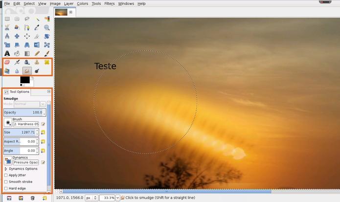 ac12a97cc4e Selecione ferramentas com efeitos de desfoque no GIMP online (Foto   Reprodução Barbara Mannara