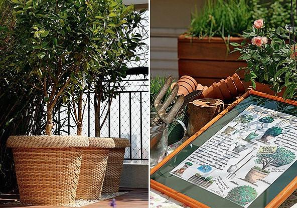 Os cachepôs de fibra sintética foram comprados na Ceagesp, em são Paulo. Mimo: os moradores ganharam da paisagista esta pintura que fez à mão com as instruções de como cuidar do jardim (Foto: Evelyn Müller)