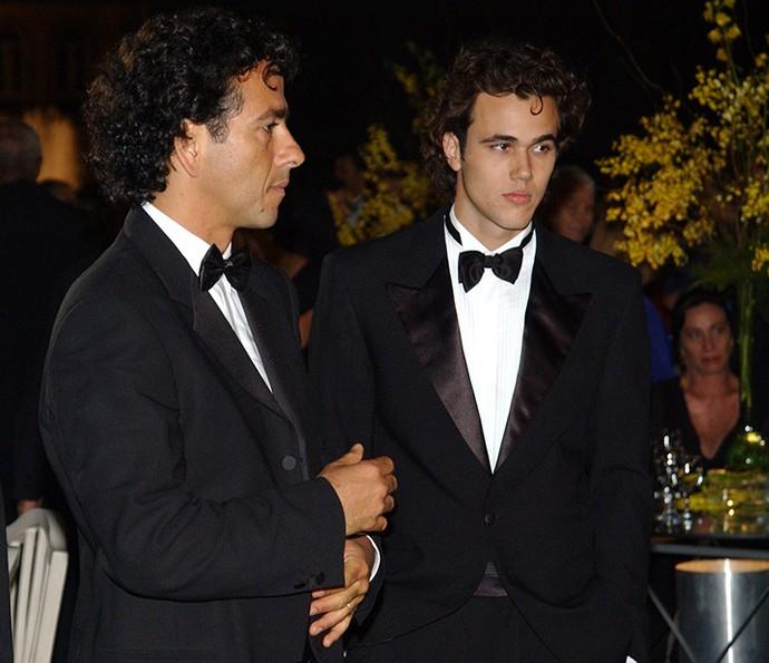 Bruno Ferrari ao lado de Marcos Palmeira em Celebridade (Foto: Renato Rocha Miranda)