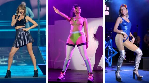 As cantoras Taylor Swift, Nicki Minaj e Miley Cyrus (Foto: Getty Images)