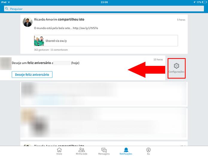Toque na engrenagem para poder desativar as notificações do LinkedIn (Foto:  Reprodução/Elson de Souza)