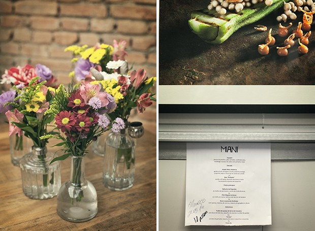 Flores do campo, como astromélias e margaridinhas, são usadas nos arranjos feitos em vidros de azeite |  Dentro da cozinha, quadro e cardápio para um grupo de visitantes (Foto: Lufe Gomes/ Editora Globo)