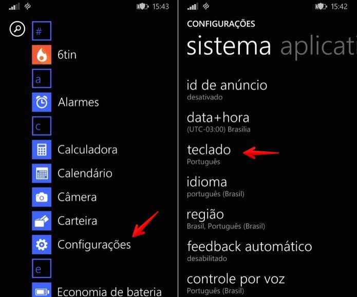 Acesse as configurações de teclado do Windows Phone (Foto: Reprodução/Helito Bijora)