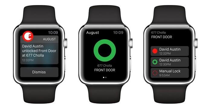 Aplicativo da August rodando no Apple Watch (Foto: Divulgação/August)