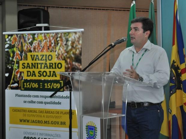 Presidente da Iagro, Luciano Chiochetta, destaca que campanha marca o início de uma importante ação para área de sanidade vegetal em MS (Foto: Sepaf/Divulgação)