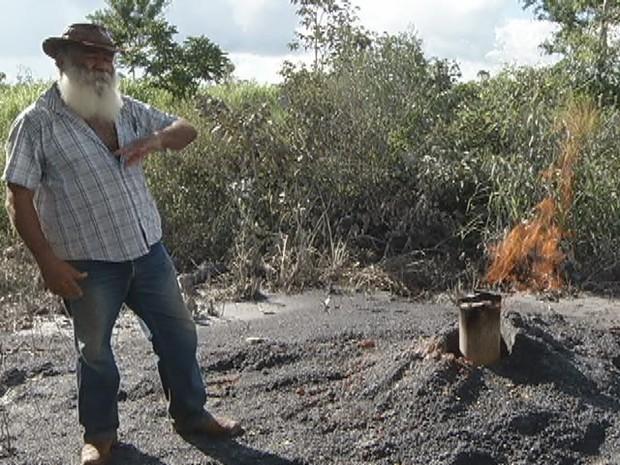 Reserva de gás natural fica na zona rural de Basília de Minas. (Foto: Reprodução/ Inter TV)