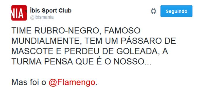 íbis provoca Flamengo no Twitter (Foto: Reprodução / Twitter)