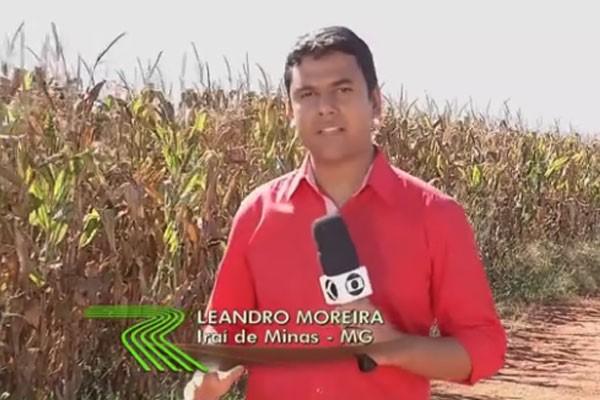 Repórter da TV Integração falou diretamente de Iraí de Minas para o Globo Rural  (Foto: Divulgação | TV Integração )