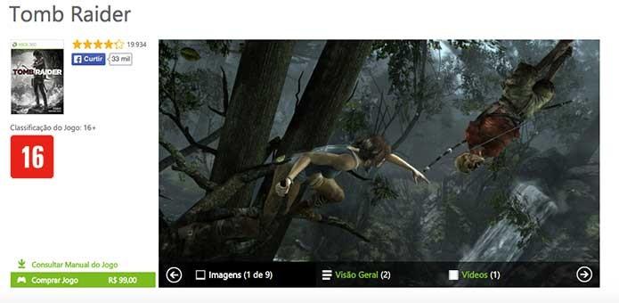 Tomb Raider vendido para Xbox 360 (Foto: Reprodução/Felipe Vinha)