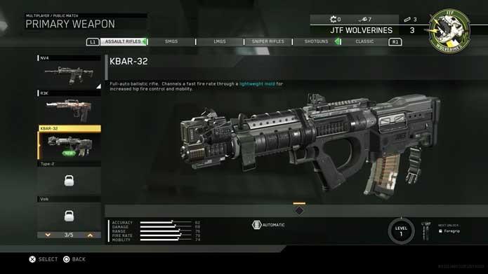 Escolha suas armas em Call of Duty: Infinite Warfare (Foto: Reprodução/Murilo Molina)