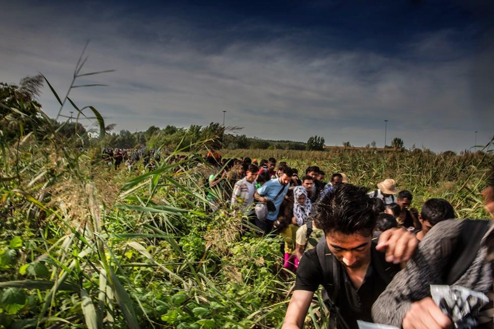 Refugiados caminham na fronteira entre Croácia e Sérvia (Foto: Juan Carlos Tomasi/MSF)