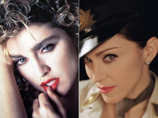 Madonna em 1984 e 2003 (Foto: Divulgação)