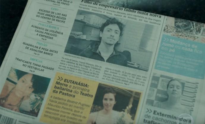 Jornal da primeira semana mostra os quatro presos (Foto: TV Globo)