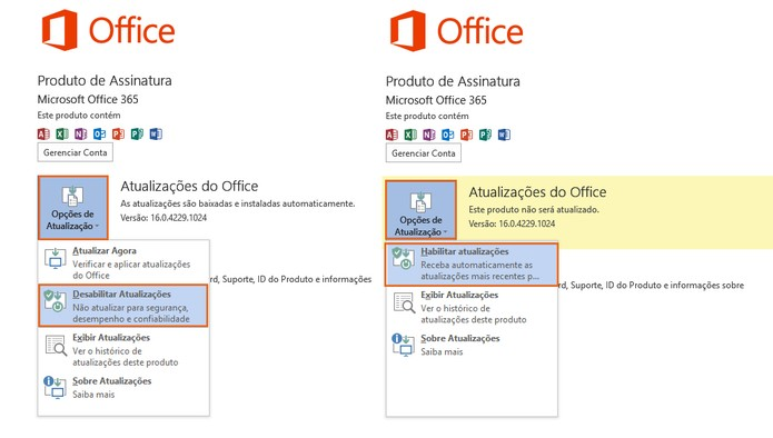 Ative ou desative as atualizações automáticas no pacote do Office 2016 (Foto: Reprodução/Barbara Mannara)